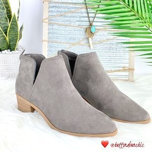 EXPRESS Low Heel Side Slit Ankle Booties, Gray